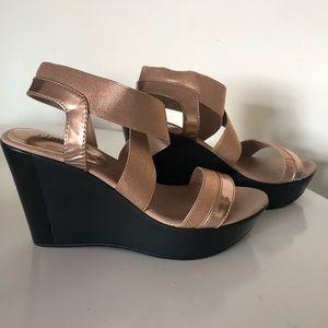 Charles David Pat Wedge Sandal- rose gold size 8.5